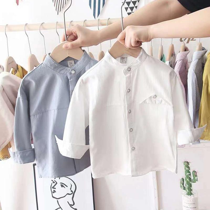 男童衬衫长袖纯棉装新款儿童衬衣