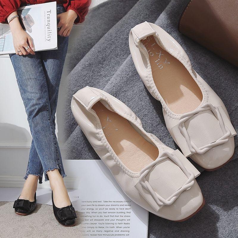 平底方头单鞋女奶奶鞋2020夏季浅口百搭时尚韩版豆豆鞋孕妇妈妈鞋
