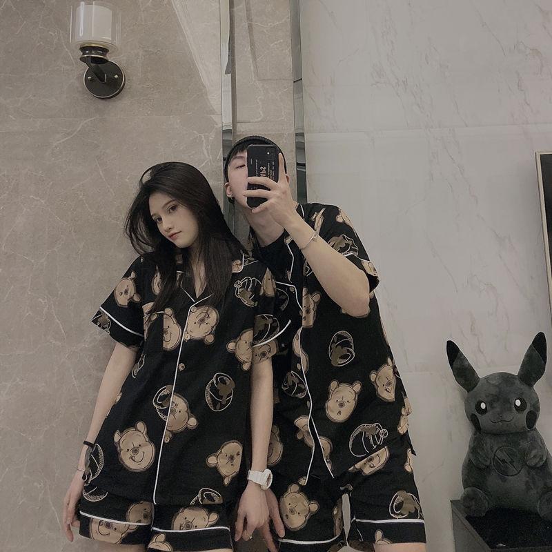 夏季ins情侣睡衣男女生情侣两件套装