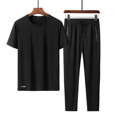套装男空调裤男冰丝裤青年直筒运动九分裤T恤两件套装收口束脚裤