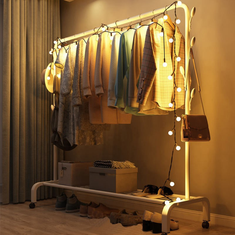 衣帽架�K家用晾衣架落地卧室挂衣架子简易宿舍室内折叠收纳晒衣服杆