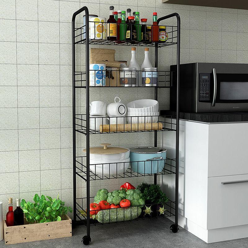 蔬菜架水果菜篮厨房置物架移动收纳筐储物架整理多层架子推车带轮�u