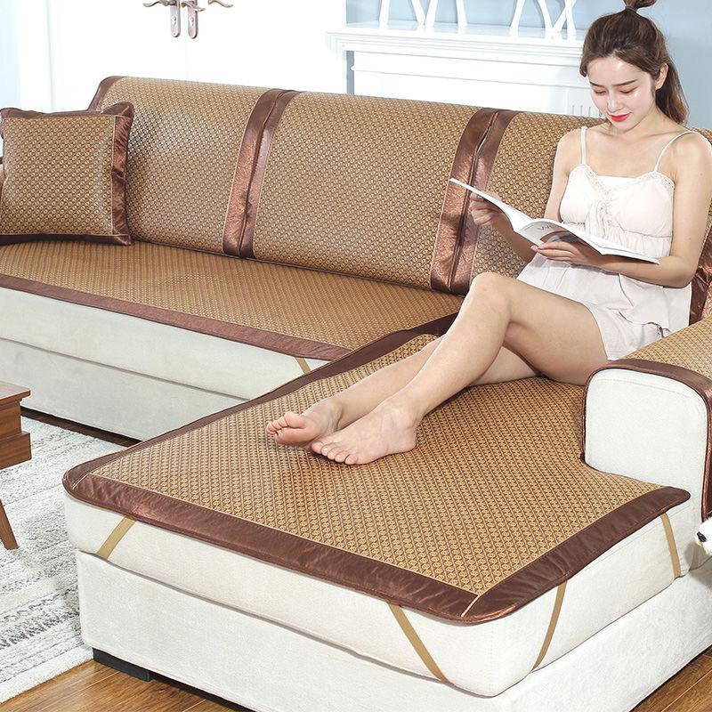 沙发垫夏季凉席冰丝布艺防滑沙发套客厅藤席沙发坐垫子夏凉垫