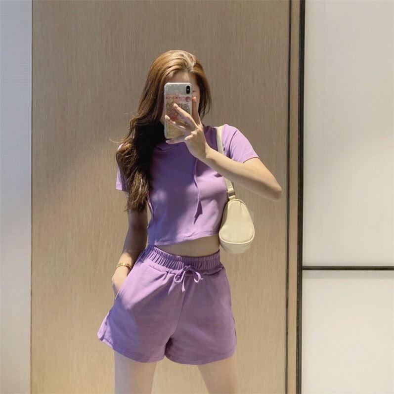 新款时尚夏季连帽露脐短款上衣短袖显高阔腿短裤休闲运动套装女潮