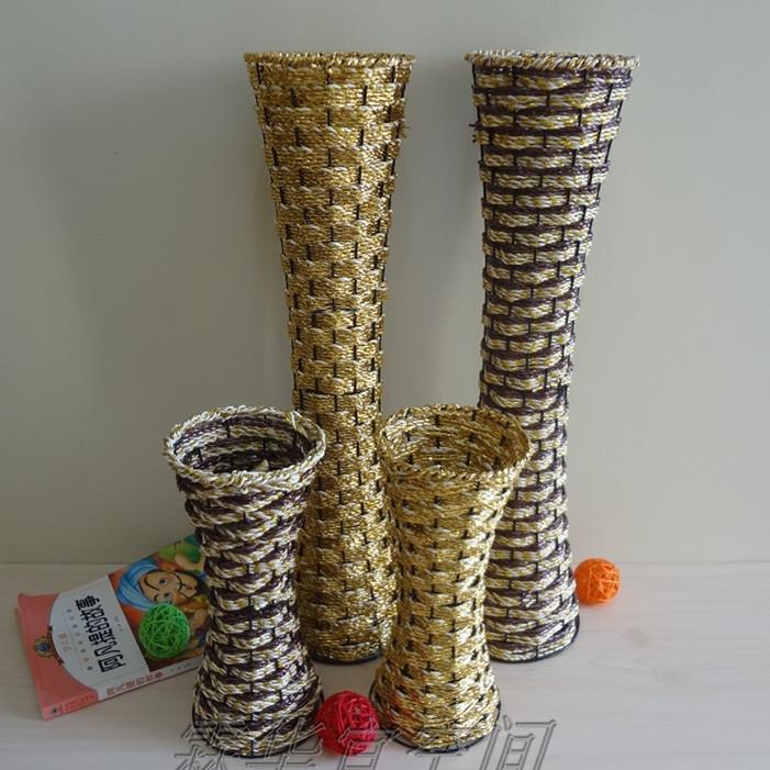 Bình nhựa dệt giỏ hoa thời trang wrought sắt hoa đứng nhà phòng khách trang trí chèn mô phỏng chậu hoa hoa hoa