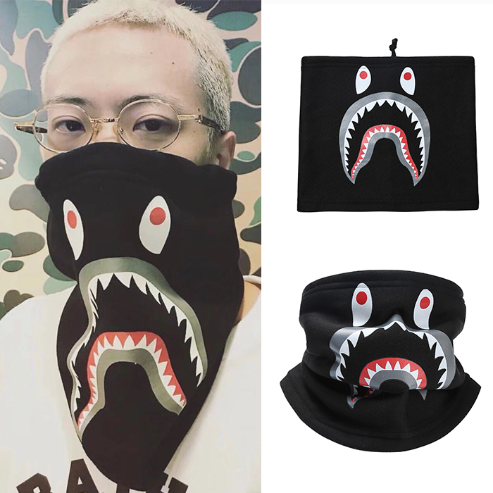 QUIERO triều mùa thu và mùa đông phim hoạt hình cá mập cổ áo điều chỉnh khăn che khăn cưỡi windproof mặt nạ nam giới và phụ nữ
