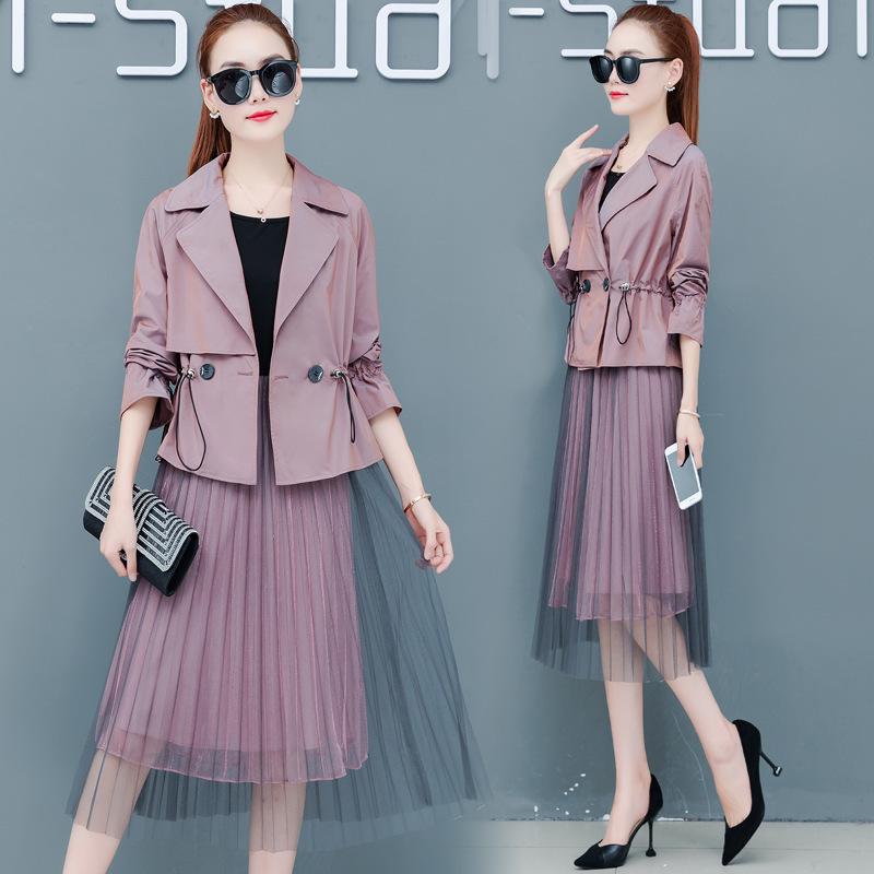 实拍秋装2019年新款早秋流行女装时尚韩版气质长袖两件套连衣裙潮