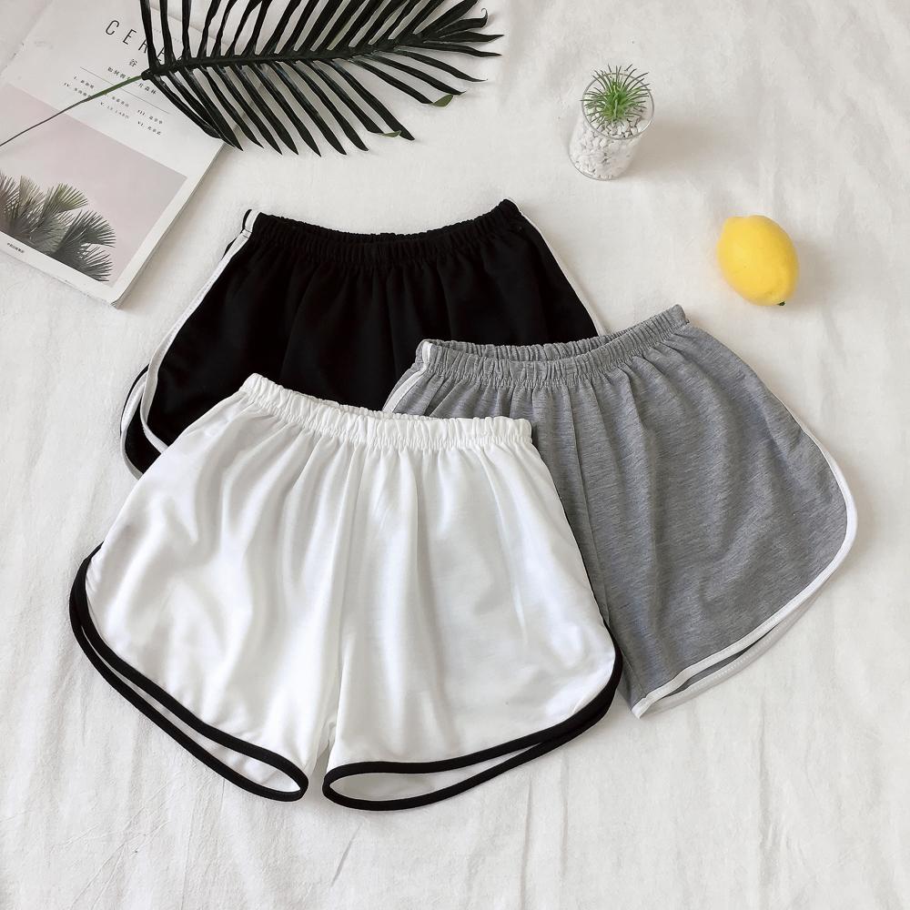 Mùa hè mới Hàn Quốc phiên bản của kích thước lớn loose home quần hit màu thể thao giản dị quần short đàn hồi eo quần xà cạp