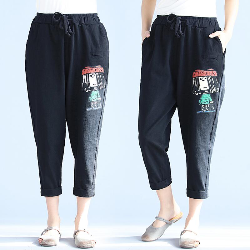 2018 mùa xuân văn học kích thước lớn của phụ nữ quần chất béo mm lỏng mỏng đàn hồi eo cotton harem quần in casual chín quần