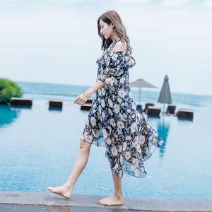 实拍2017夏季雪纺印花沙滩吊带连衣裙