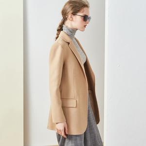 Oz 18 mùa thu và mùa đông tay khâu len hai mặt kaki + hồng floppy cổ áo dài tay áo coat