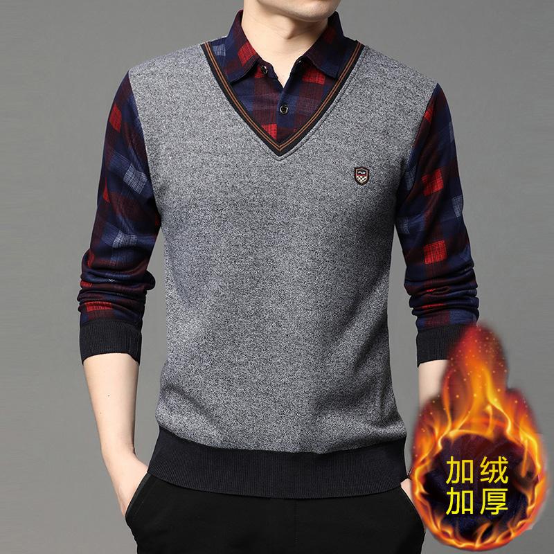 男士秋冬季针织衫假两件衬衫领T恤加绒上衣