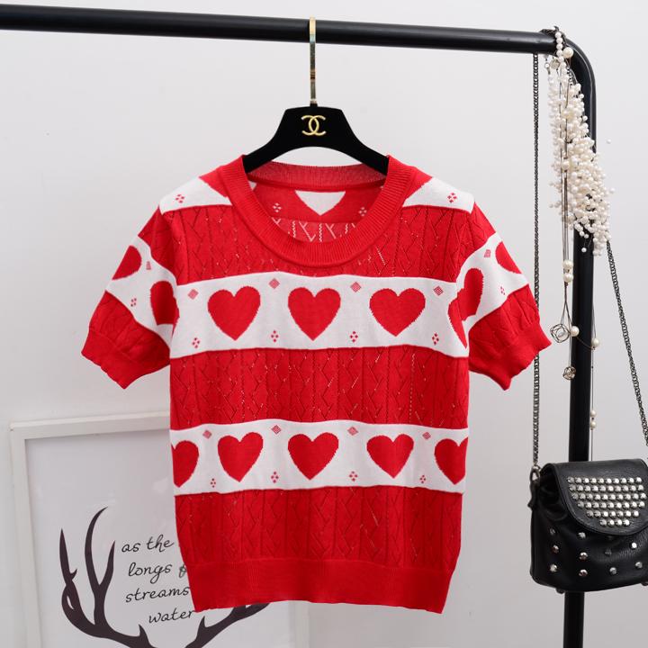 2018 mùa hè ngôi sao mới với cùng một chiếc áo len nữ vòng cổ ngắn tay Châu Âu trạm tình yêu áo len rỗng áo sơ mi