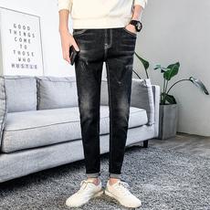 秋冬季长裤子百搭显瘦小脚裤男士潮牌裤黑色牛仔裤b-909