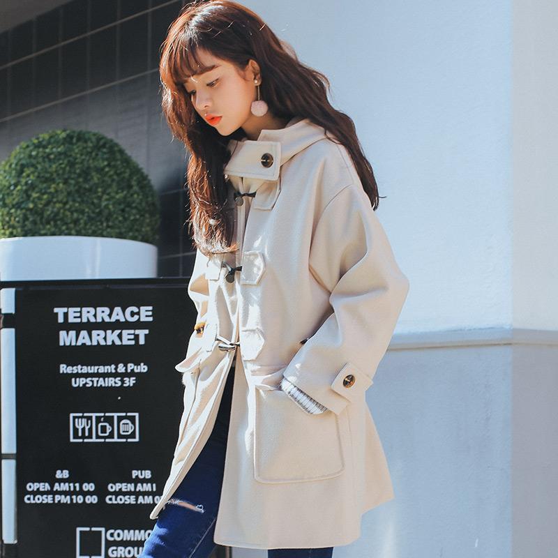 实拍7002#【实物图】冬季韩版连帽加绒加厚羊角扣毛呢子外套大衣