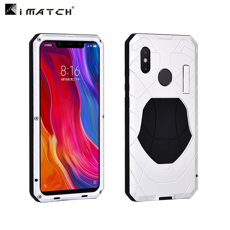 iMatch Water Resistant Shockproof Dust/Dirt/Snow-Proof Aluminum Metal Military Heavy Duty Armor Protection Case Cover for Xiaomi Mi 8