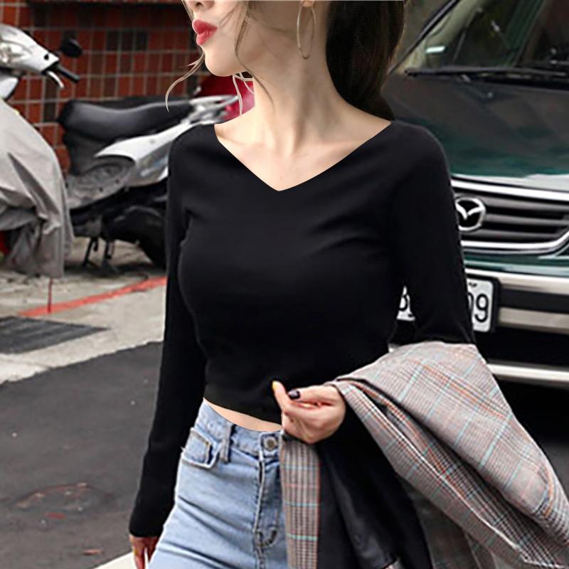 高腰黑色紧身V领上衣女长袖韩版短款漏肚脐纯棉内搭打底衫显瘦t恤