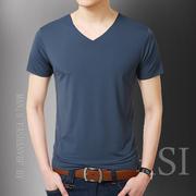 Băng lụa cotton ngắn tay nam t-shirt giản dị Hàn Quốc phiên bản của V-Cổ áo sơ mi từ các màu nóng giản dị thủy triều của nam giới quần áo