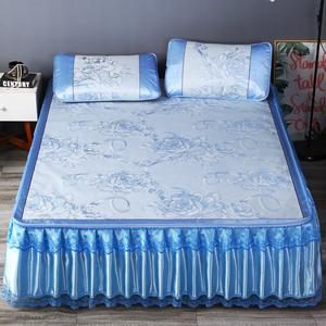 冰丝席三件套可水洗拆卸折叠夏凉席蕾丝床裙款天丝空调软席1.8m