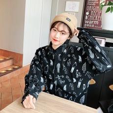 实拍1132 韩版ulzzang春款长袖可爱卡通人物印花BF小清新衬衫