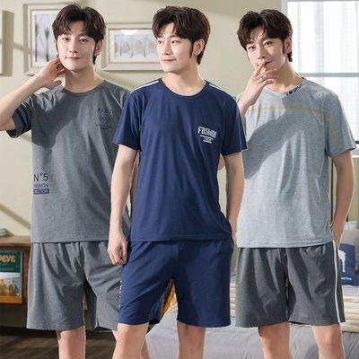 睡衣男士夏季纯棉短袖短裤套头家居服青少年学生夏天大码休闲套装