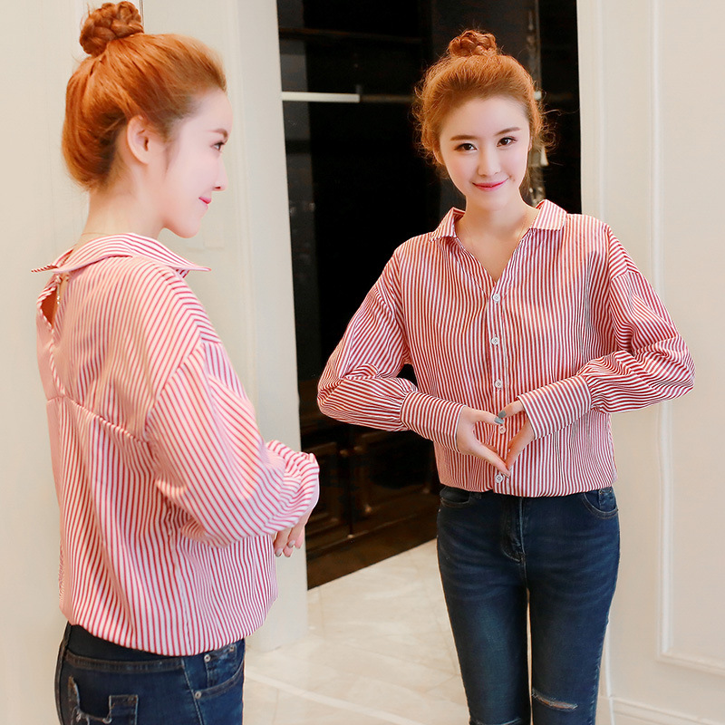 新款条纹长袖衬衫女宽松显瘦打底衬衣