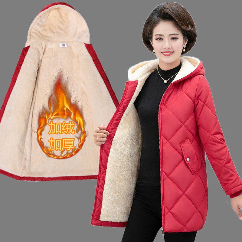 新款妈∑妈装中长款加绒加厚棉衣外套