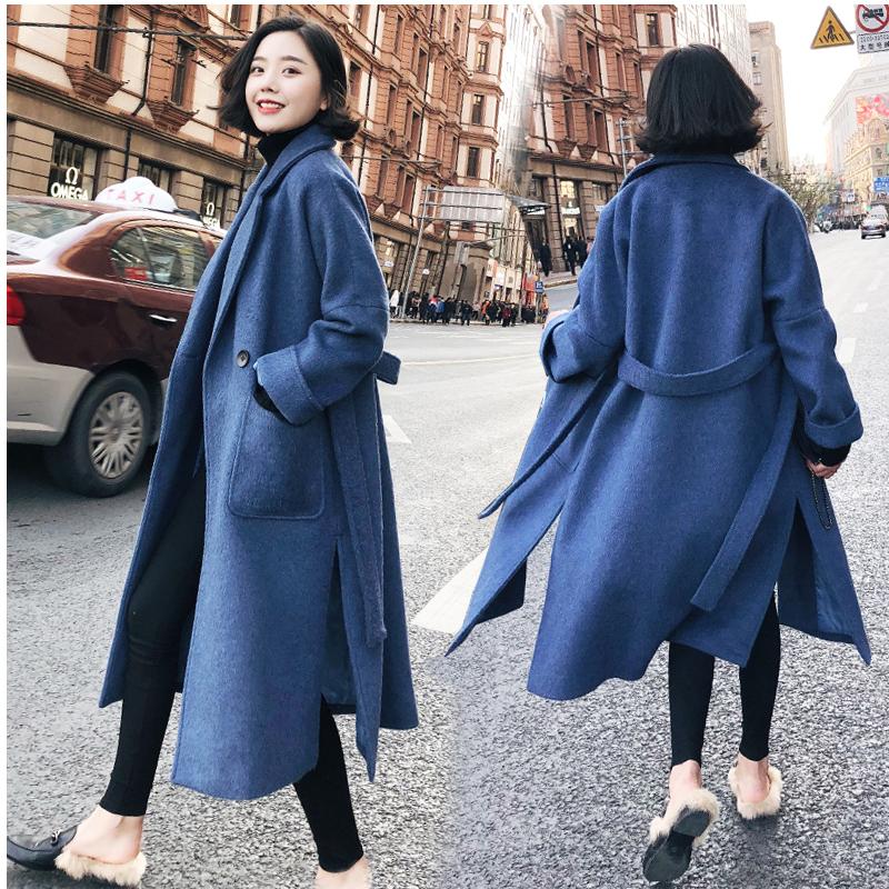 Len Nizi khói áo khoác màu xanh 2017 mới của Hàn Quốc phiên bản của phần dài của eo với áo len nữ quần áo mùa đông