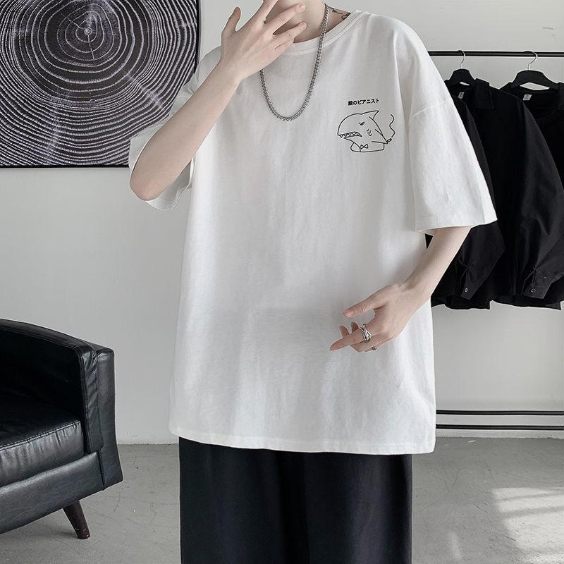 新款潮流宽松五分袖短袖T恤男休闲百搭