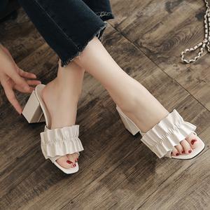 韓版夏季新款 粗跟高跟百搭一字套腳涼拖鞋