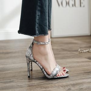 2018夏季欧美性感款 蛇纹一字带细高跟超高跟凉鞋有40码
