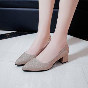 春季银色尖头高跟鞋粗跟亮片浅口方跟
