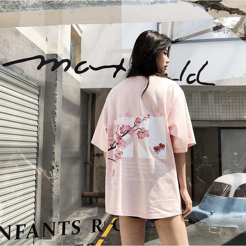 潮叁Veraf二代花卉反战印花短袖T恤男女情侣同款潮牌半袖上衣