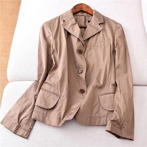 7.10X1131 mùa xuân mới của phụ nữ hoang dã mỏng giảm béo phần mỏng màu ba nút dài tay áo nhỏ blazer
