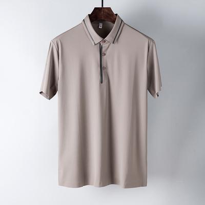 18 mùa hè thủy triều của nam giới ngắn tay POLO áo áp lực lụa mượt stretch vải kinh doanh bình thường ve áo ngắn tay T-Shirt nam ao polo Polo