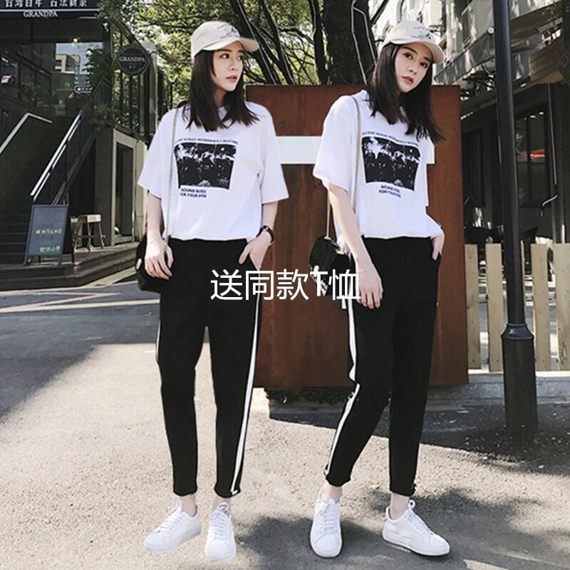 1 Harajuku phong cách bf triều sinh viên thể thao lỏng lẻo quần nữ Hàn Quốc phiên bản của chân hoang dã quần âu chín điểm quần 9.9 bán buôn