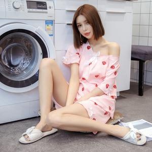 女夏睡衣短袖短裤坑条螺纹纯棉草莓印花可爱家居服套装