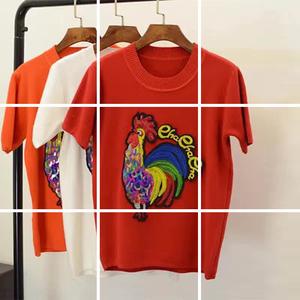 6010#春装新款 金鸡年必备火红款 高端刺绣百搭针织衫 上衣