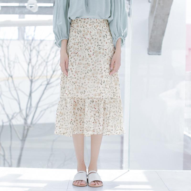 Thư hoa gió tự chế retro hoa voan váy nữ cảng hương vị chic gió nhẹ nhàng là mỏng trong dài váy mùa hè