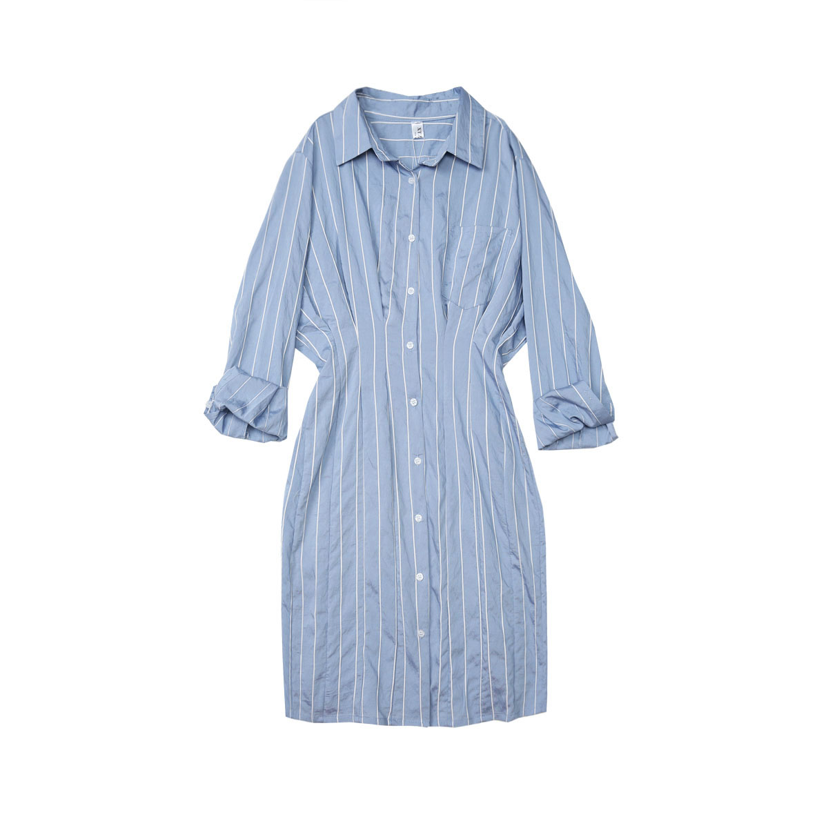 Attav polo蓝白条衬衫裙2018夏季棉质翻领竖条纹收腰连衣裙中长款