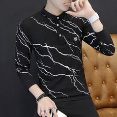 2018男士薄款长袖t恤韩版有领带领修身polo衫秋季打底衫衣服潮流