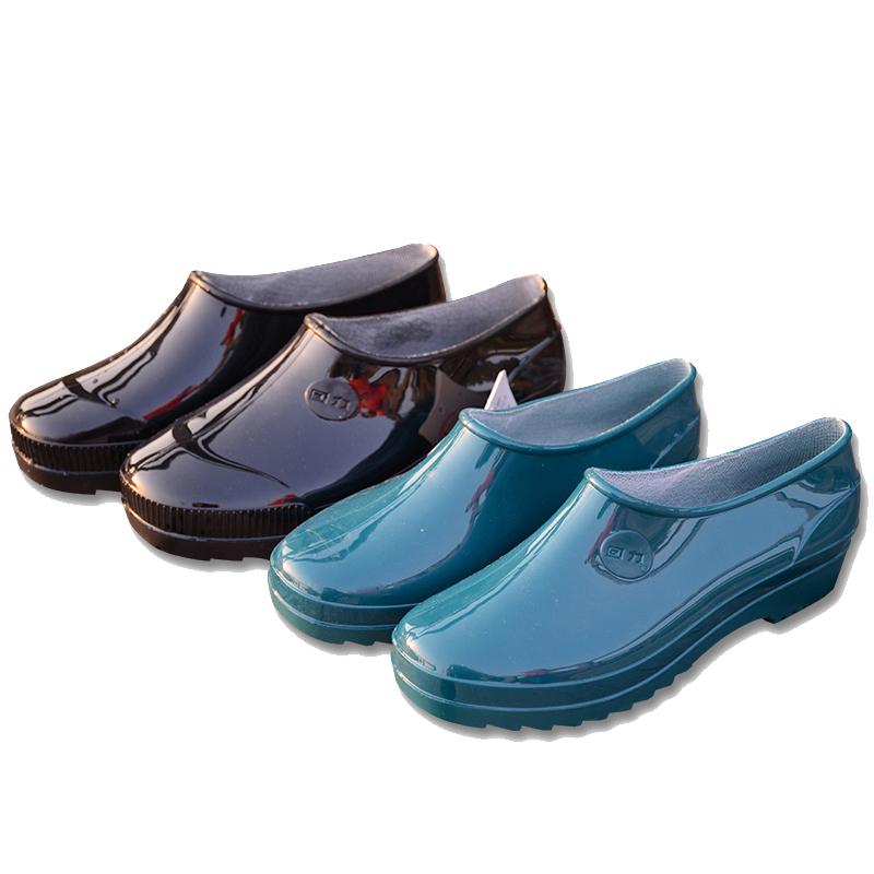 Kéo trở lại mưa khởi động nông miệng không trượt người lớn nam giới và phụ nữ nước giày không trượt thỏi giày thời trang ngắn ống làm việc bảo hiểm lao động giày cao su giày
