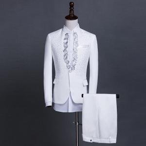 Trang phục nam dành cho người lớn đứng cổ áo sequin ca sĩ máy chủ trang phục sân khấu điệp khúc của nam giới ăn mặc phù hợp với phù hợp với