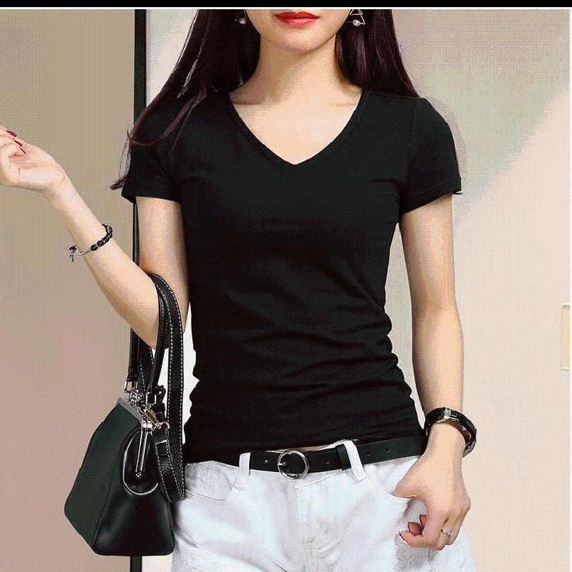 2019夏装新款百搭黑色T恤女士短袖白色棉修身显瘦