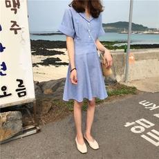 实拍 623#!已检测~韩国气质小姐姐纯色翻领排扣短袖中长款连衣裙
