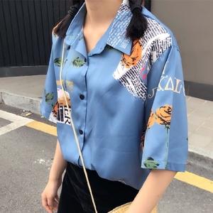 298 實拍實價復古印花短袖襯衫