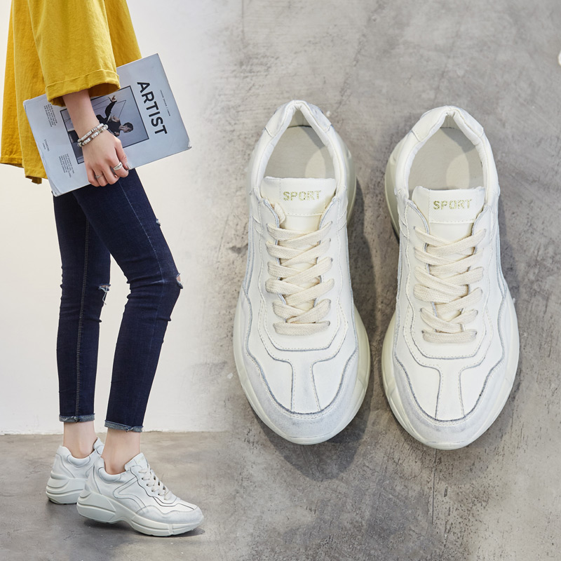 春新款单鞋真皮低帮鞋女ins超火的鞋子厚底运动跑步鞋做旧老爹鞋