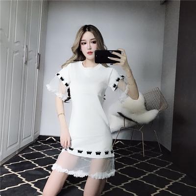 实拍5825时尚花瓣网纱拼接宽松针织连衣裙
