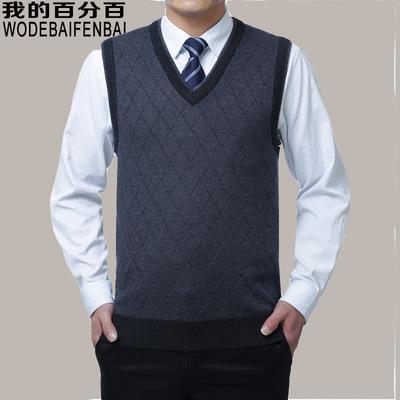 Mùa thu và mùa đông trung niên áo len nam len màu rắn ấm đệm vest cha mặc vest trung niên nam V-Cổ Dệt kim Vest