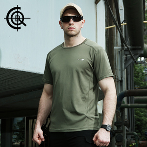 CQB quân đội fan nguồn cung cấp quần áo mùa hè vòng cổ khô nhanh T-Shirt ngắn tay đào tạo chiến thuật t-shirt nam thể dục thể chất đào tạo áo sơ mi